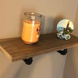 Walnut industrial style shelf